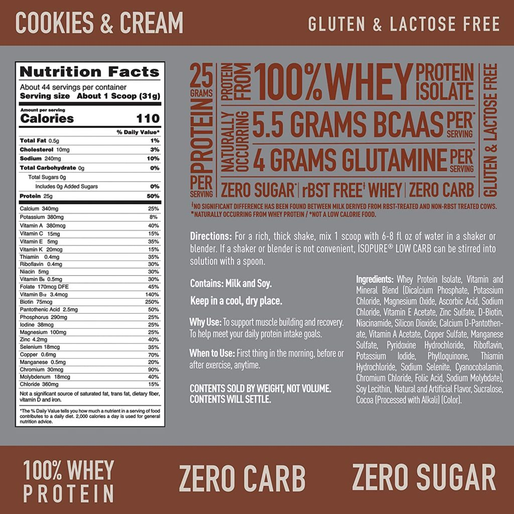 Isopure Zero Carb Protein Powder nutritional facts