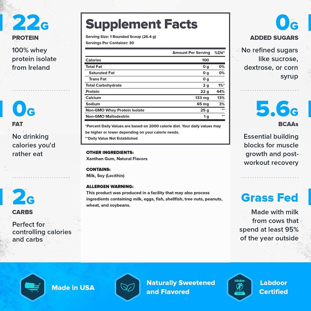 Legion Whey+ Isolate Protein Powder supplement facts