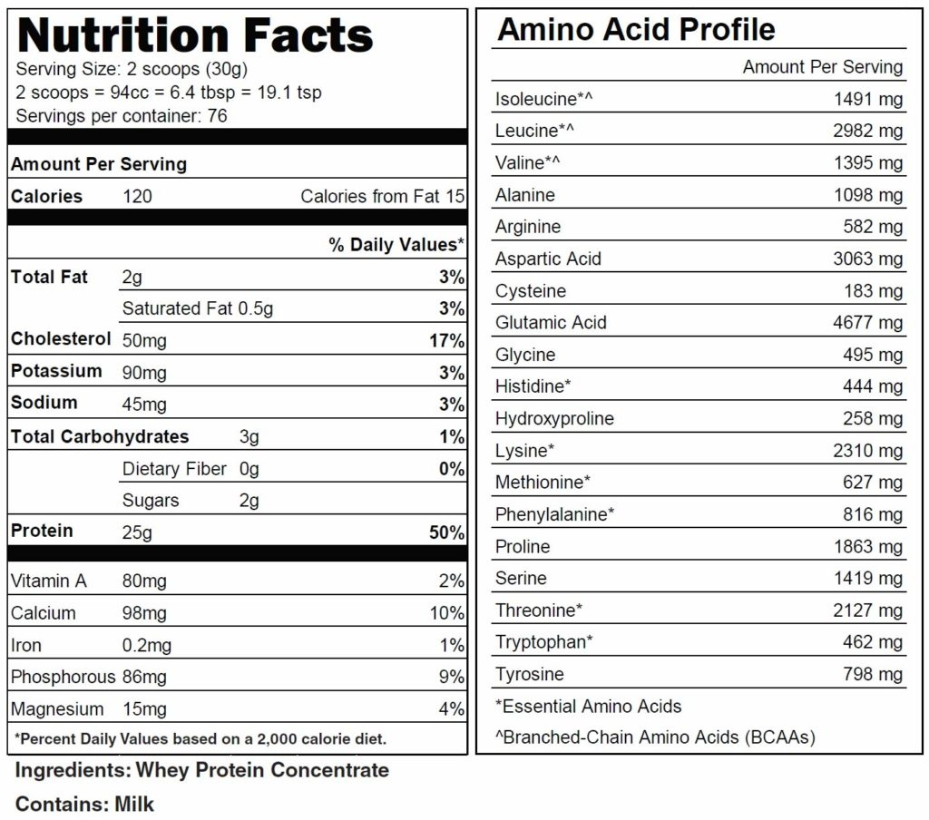 NAKED Grass Fed Whey Protein Powder nutrition facts