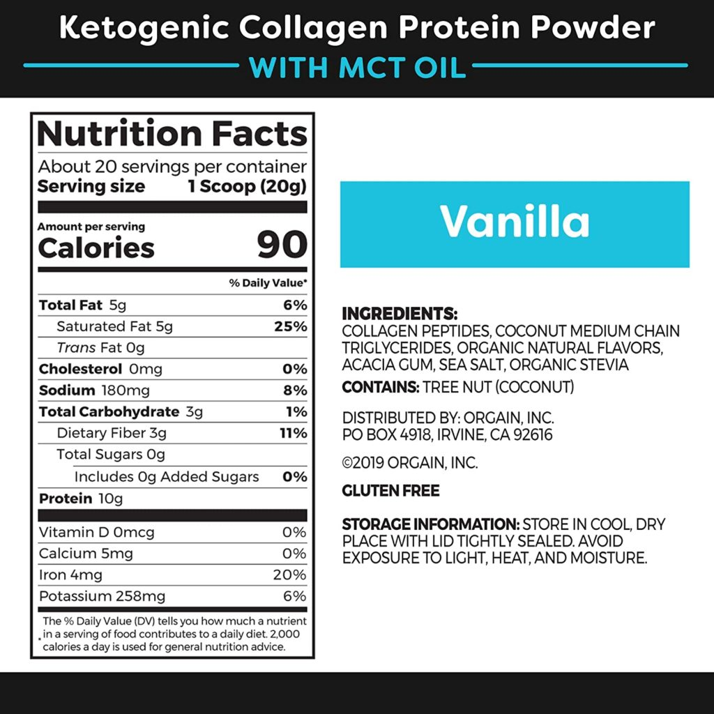 Orgain Keto Collagen Protein Powder nutrition