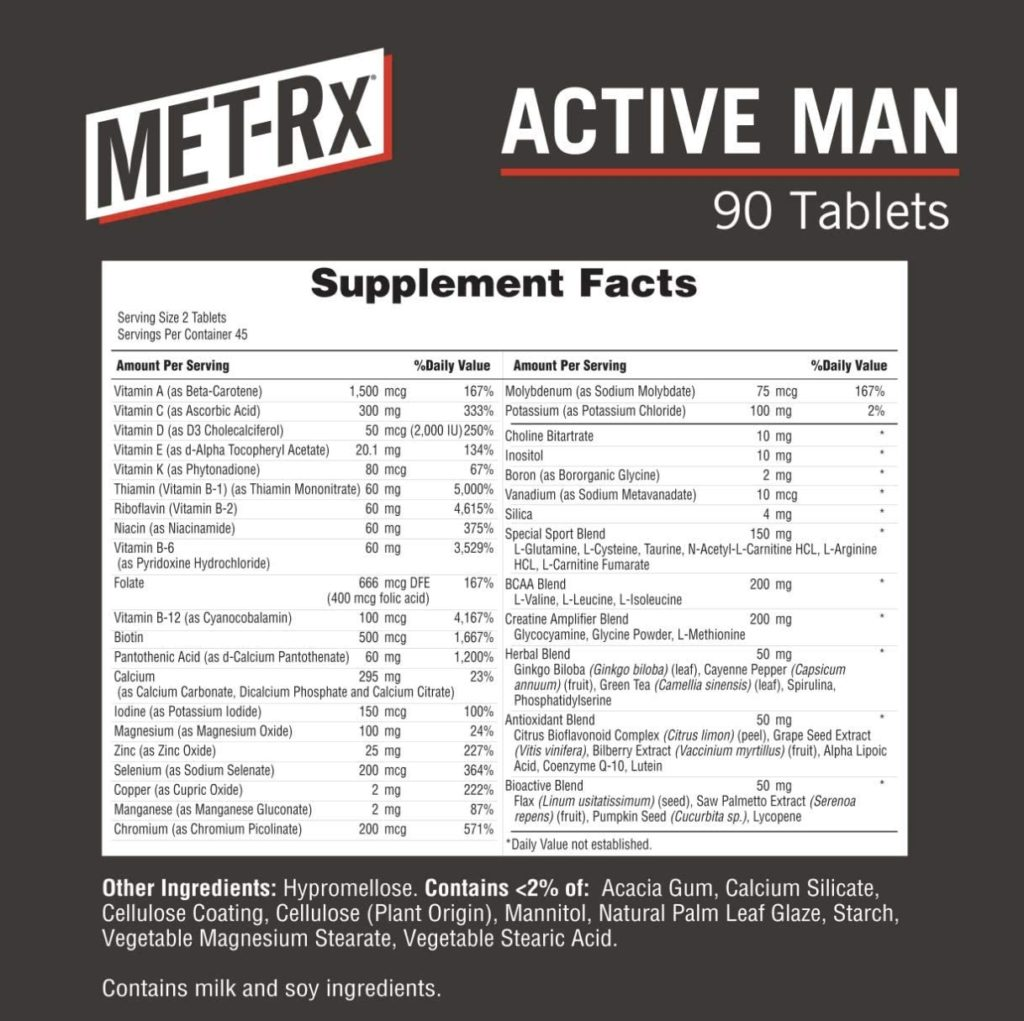 MET-Rx Active Man Multivitamin supplements