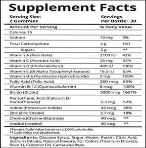 SugarBearHair Vitamins content