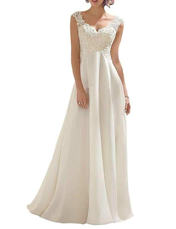 Abaowedding Wedding Dress Lace Double V-neck Sleeveless