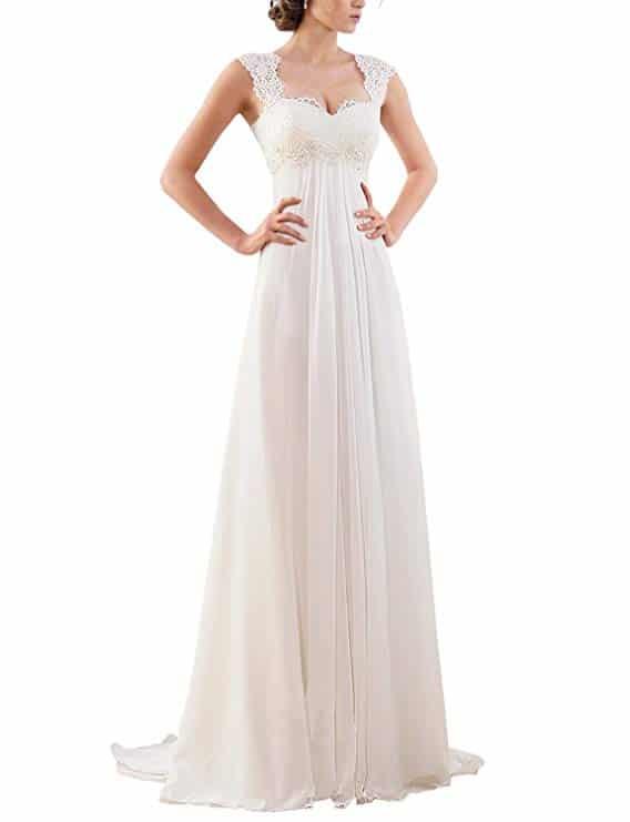 Erosebridal New Sleeveless Lace Chiffon Wedding Dress