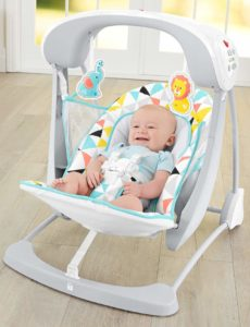 Fisher-Price Deluxe Take-Along Swing & Seat with baby