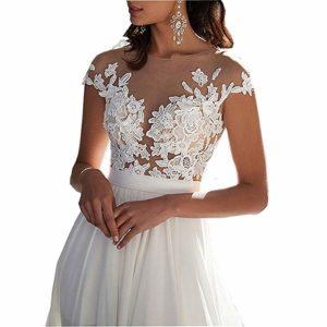 Ieuan Chiffon Beach Wedding Dress front view
