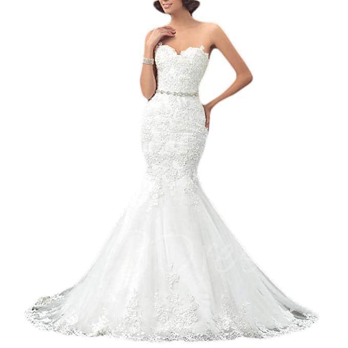 Oyisha Formal Strapless Sweetheart Mermaid Lace Bridal Dress