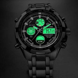 Tamlee Luxury Steel Analog Digital Watch light