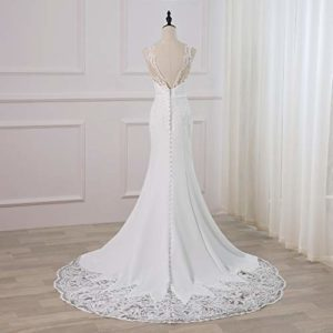 WeddingDazzle Backless Lace Appliques Mermaid Wedding Dress 1
