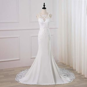 WeddingDazzle Backless Lace Appliques Mermaid Wedding Dress