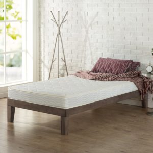 "Zinus 6"" Spring Mattress features on a cot"