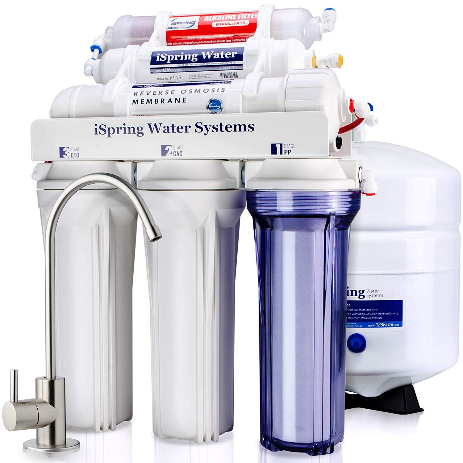 iSpring RCC7AK 6-Stage Reverse Osmosis Drinking Water Filter with Alkaline Remineralization