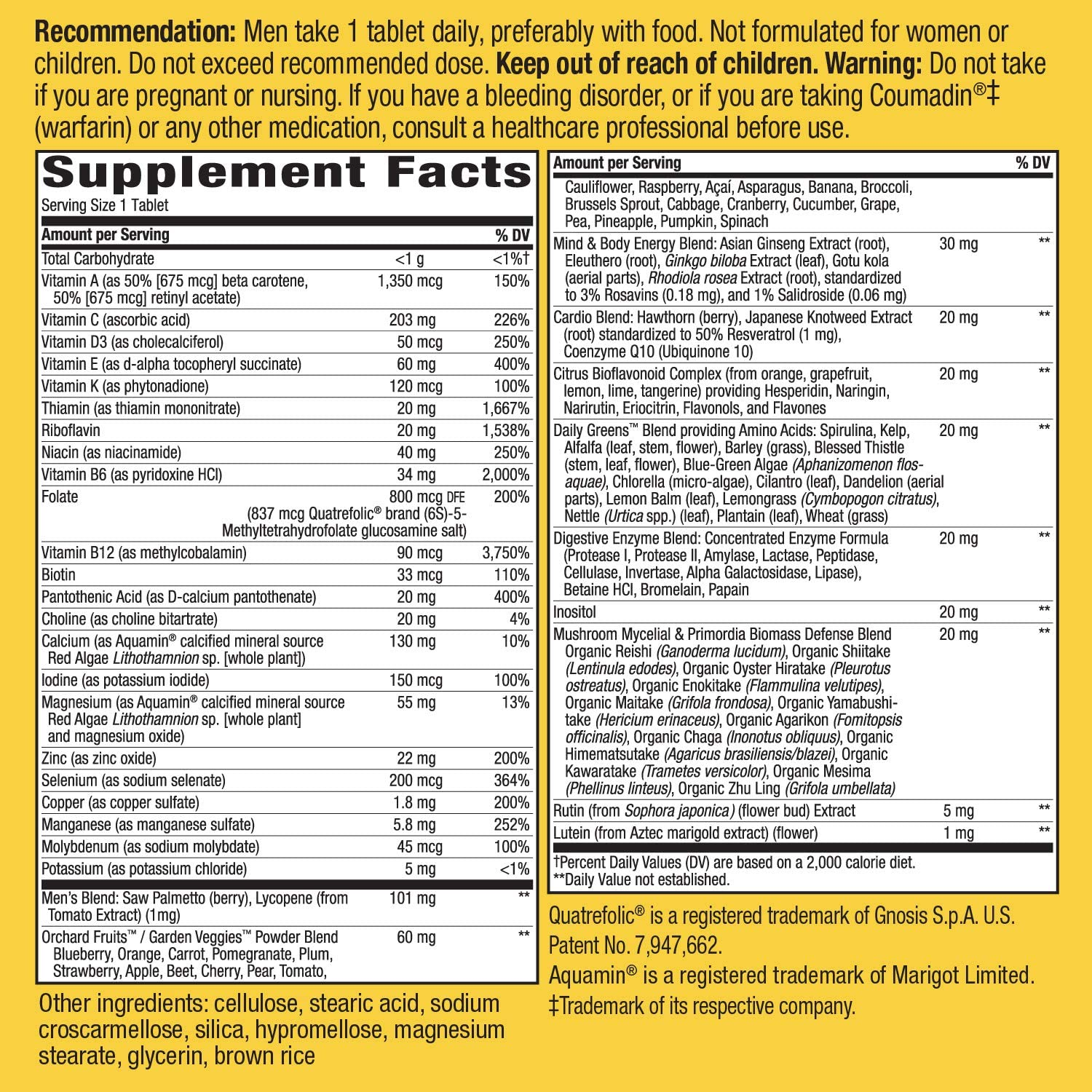 Nature's Way Alive Once Daily Men's 50+ supplements facts