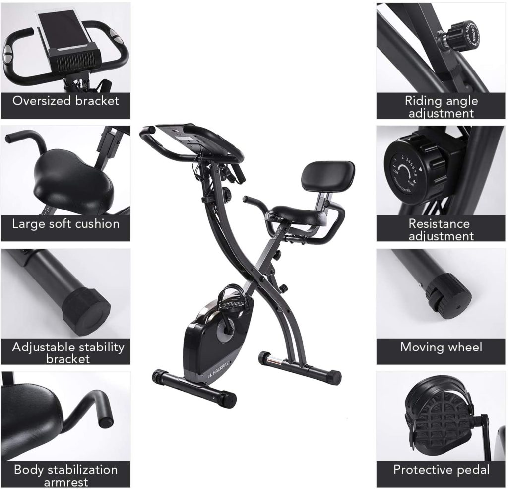 MaxKare Folding Magnetic Upright Exercise Bike 1