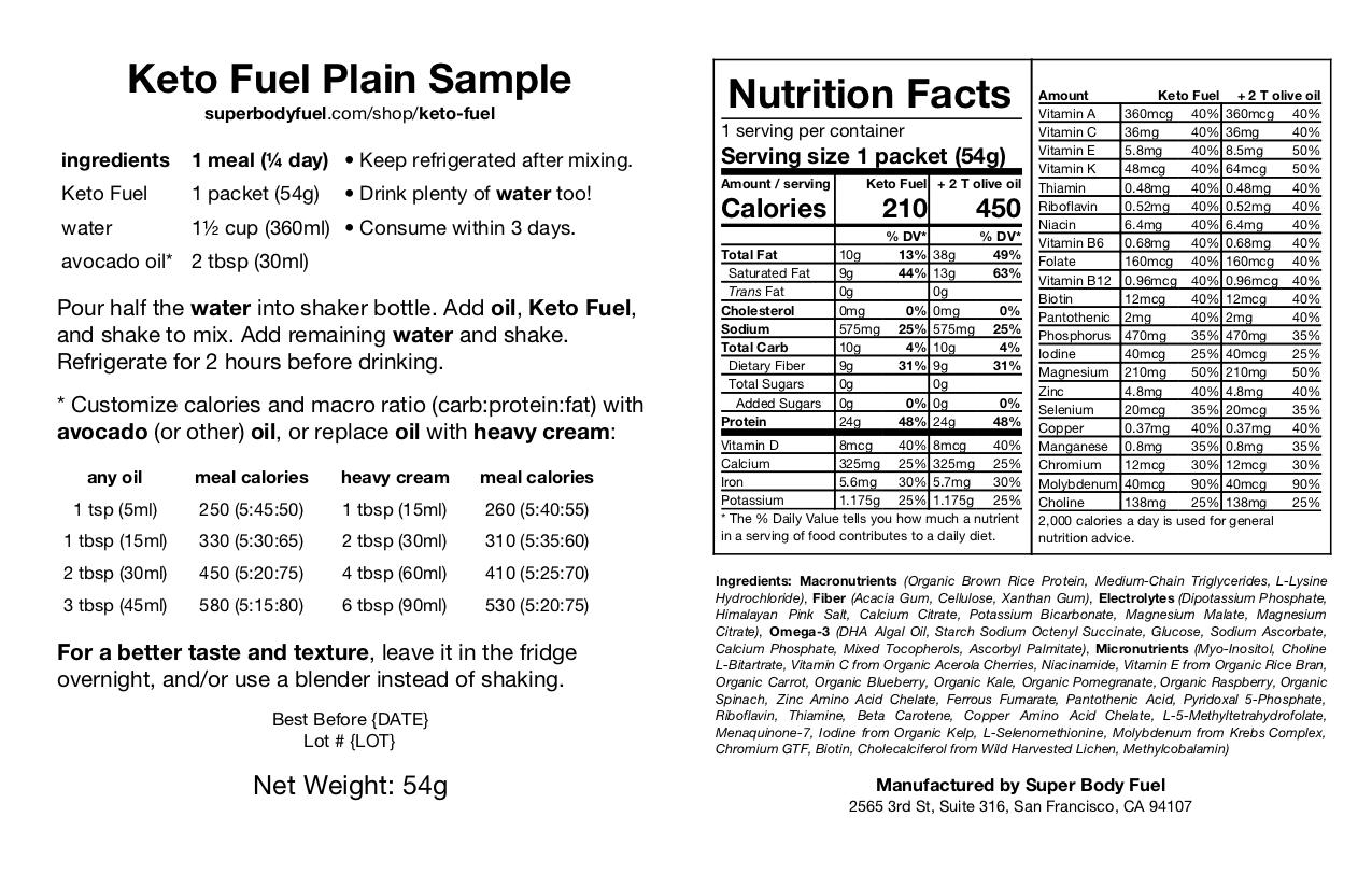 Keto Fuel Ingredients