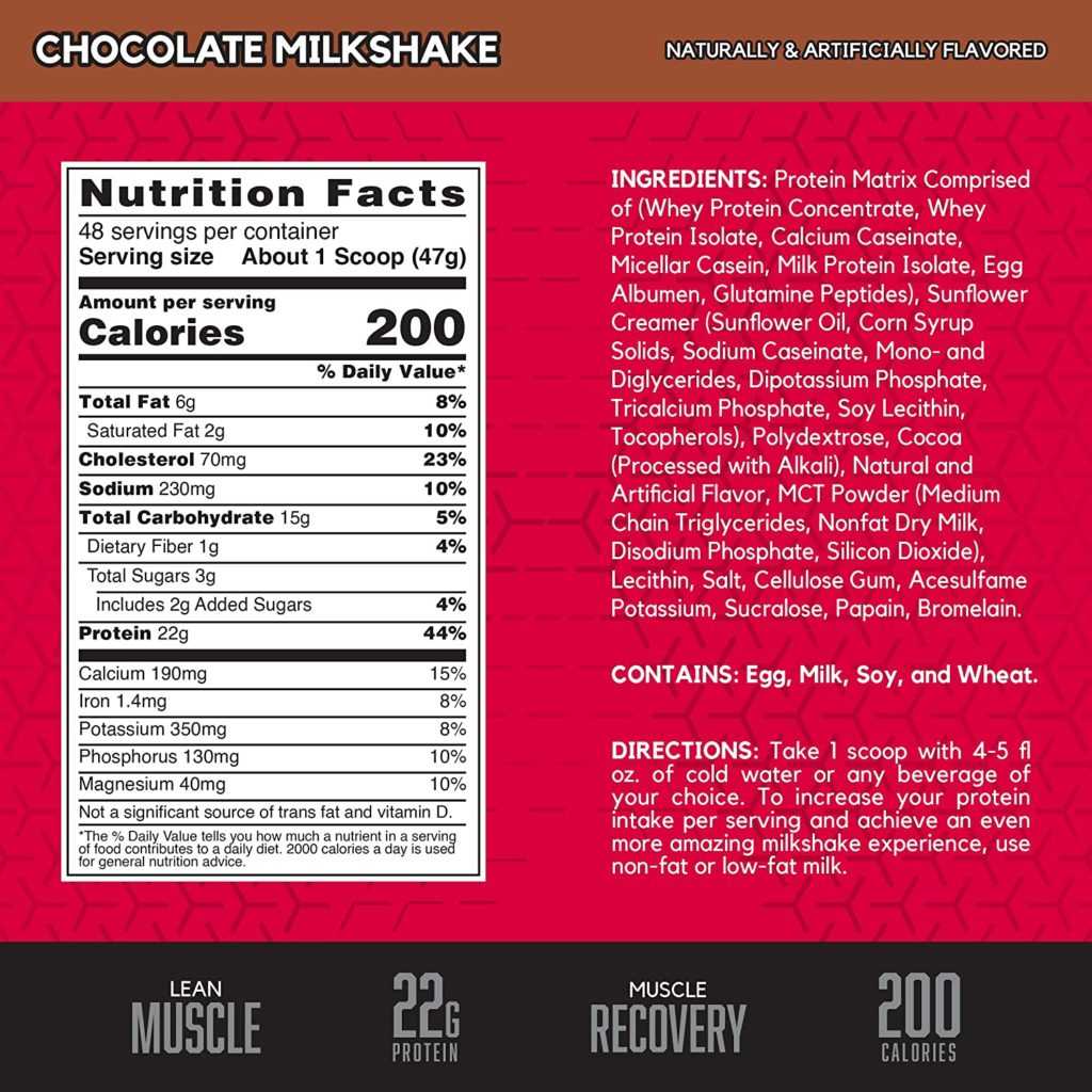 BSN Syntha 6 - Nutrition Facts