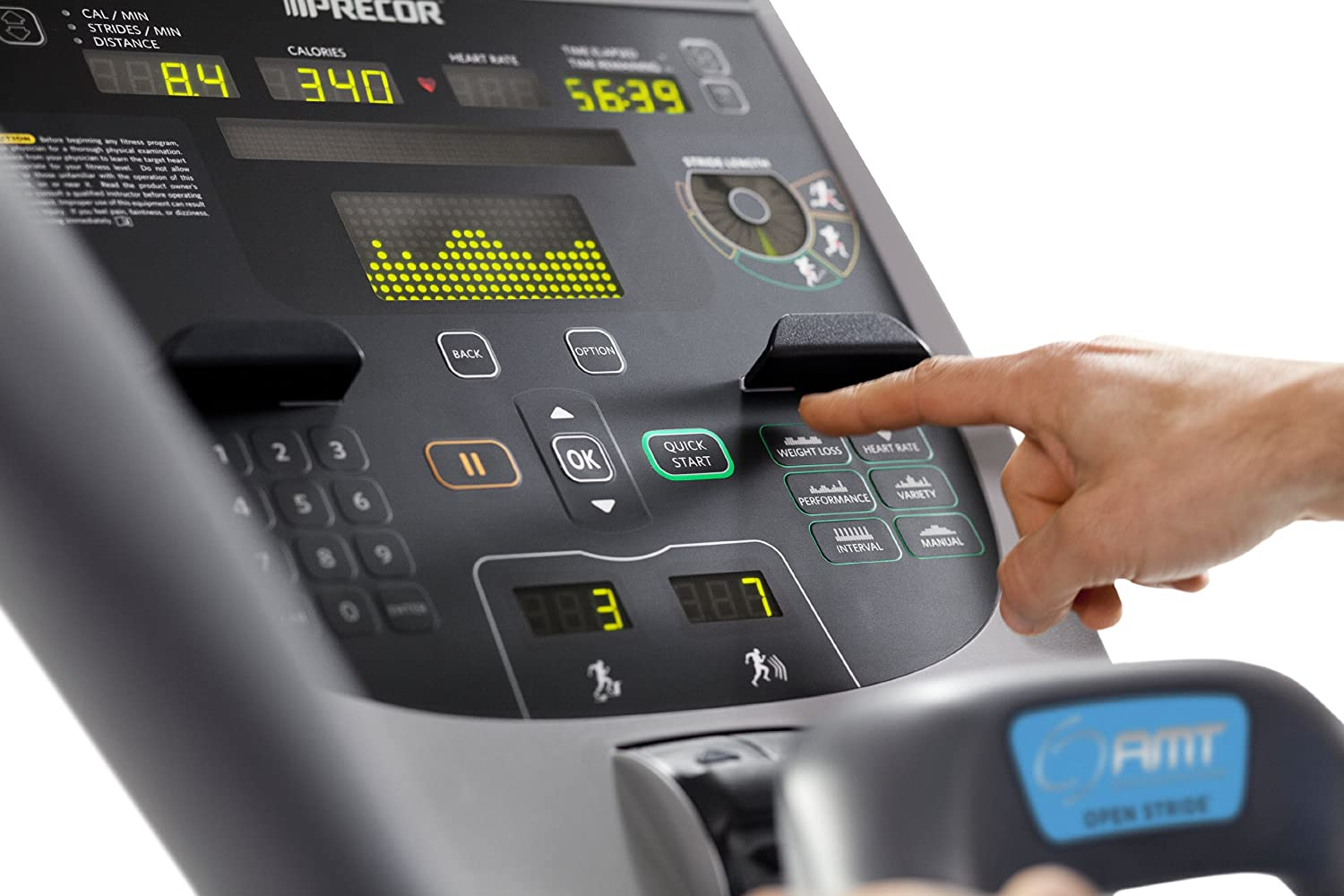 Precor AMT 835 Commercial Series Adaptive Motion Trainer console
