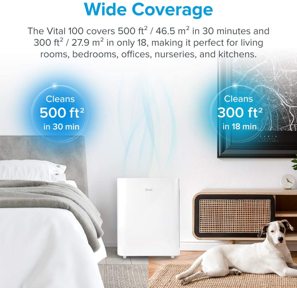 Levoit Vital 100 Air Purifier room size coverage