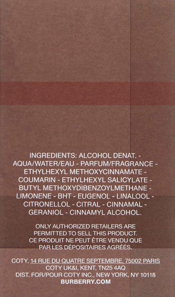 Burberry London ingredients