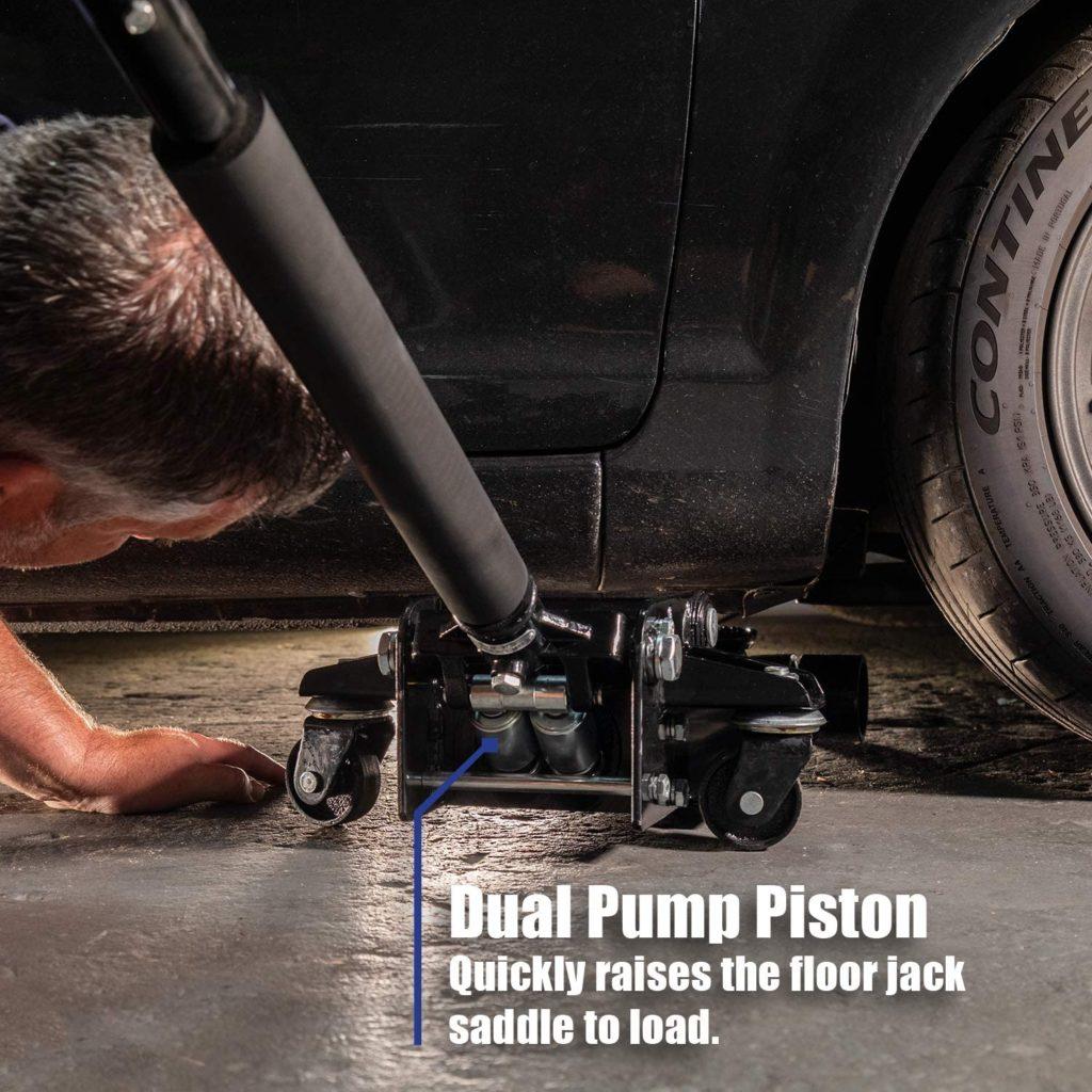 Arcan Low-Profile Quick Rise Steel Floor Jack dual pump piston