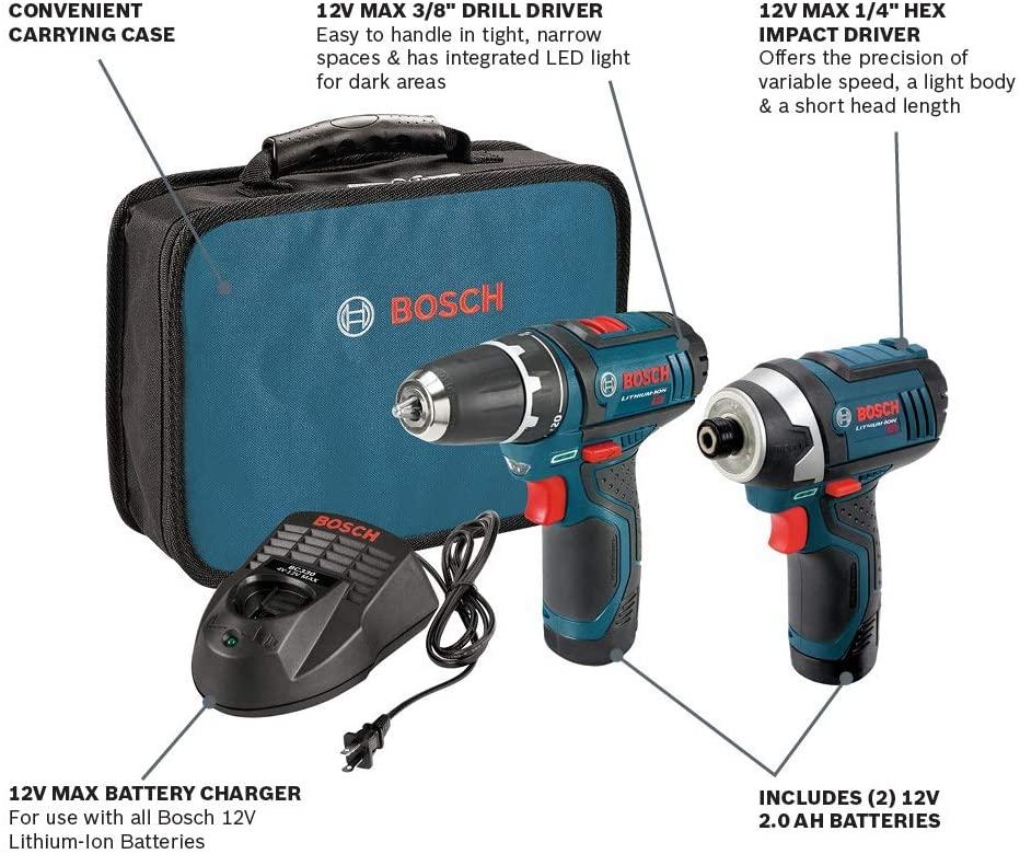 Bosch 12V Cordless Combo Kit, CLPK22-120 bag content