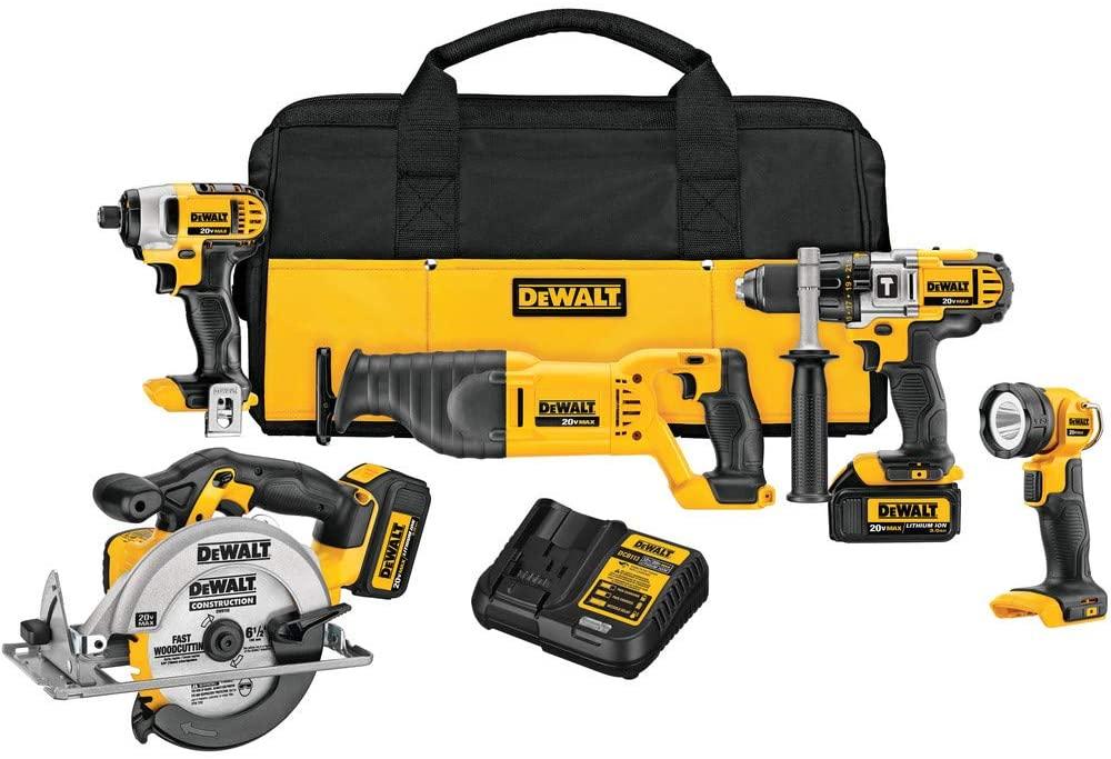 DeWalt 20V Max Cordless Drill Combo Kit, 5-Tool