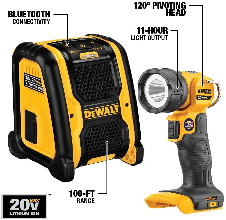 Dewalt 20V Max battery pack and light