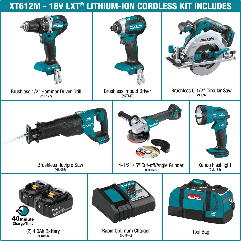 Makita XT612M 18V LXT Cordless power tool set