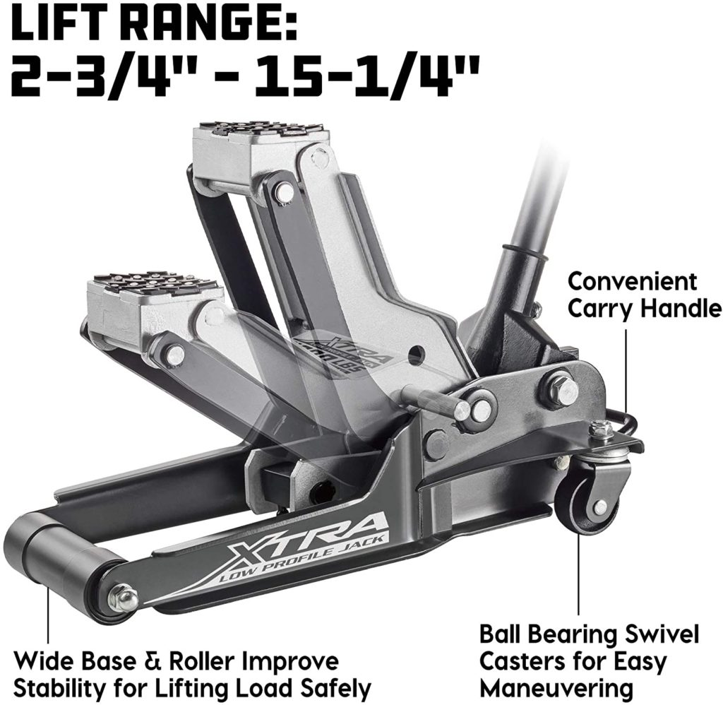 Powerbuilt 620479E Xtra Low Profile Floor Jack lift range