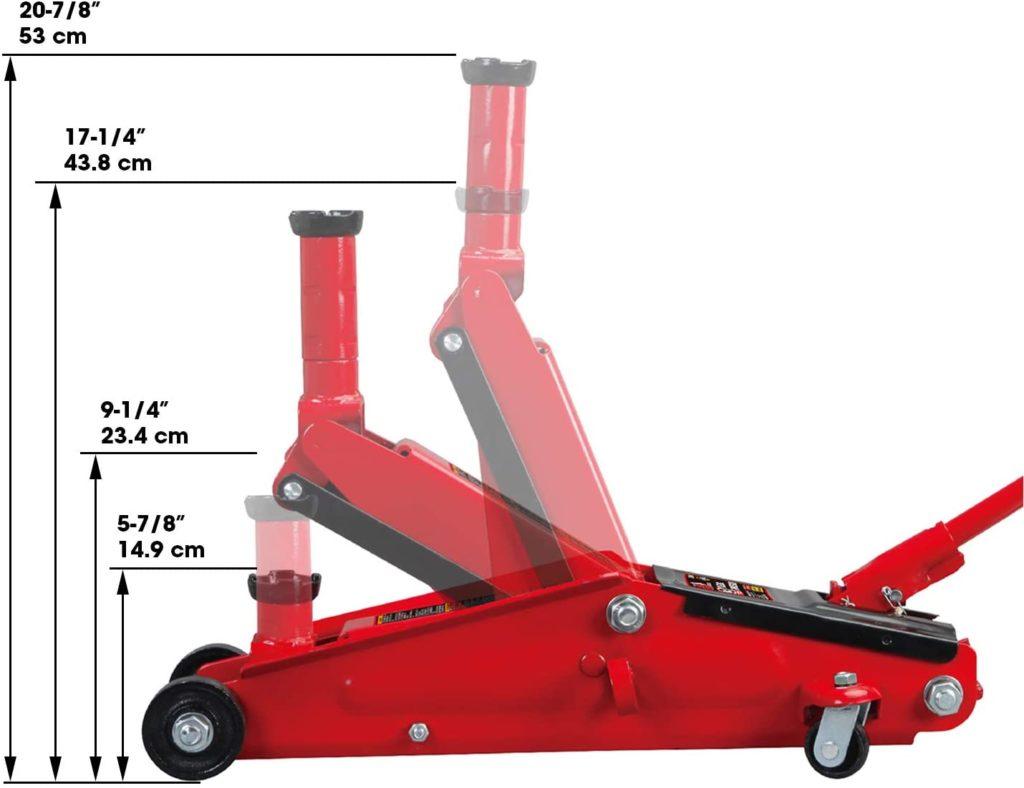 Torin Big Red Hydraulic Trolley Floor Jack lift range