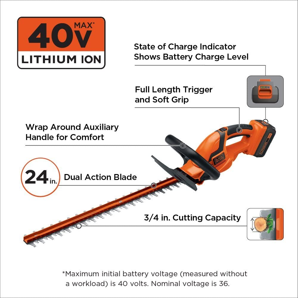 Black+Decker 36V Cordless Hedge Trimmer info