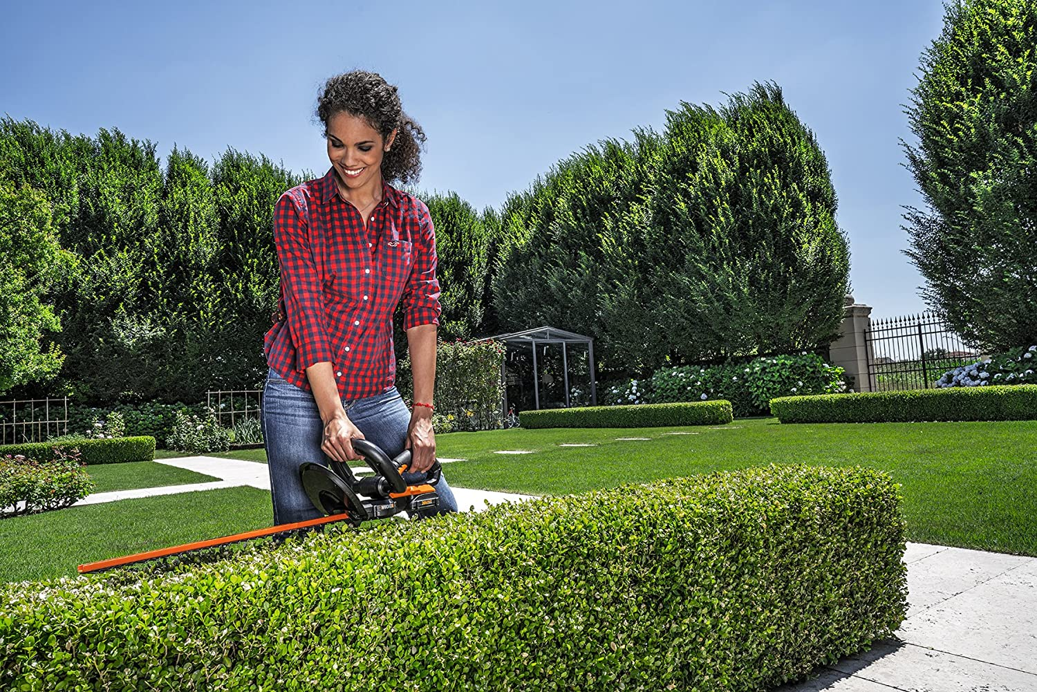 Worx WG255.1 20V PowerShare Cordless Hedge Trimmer trimming