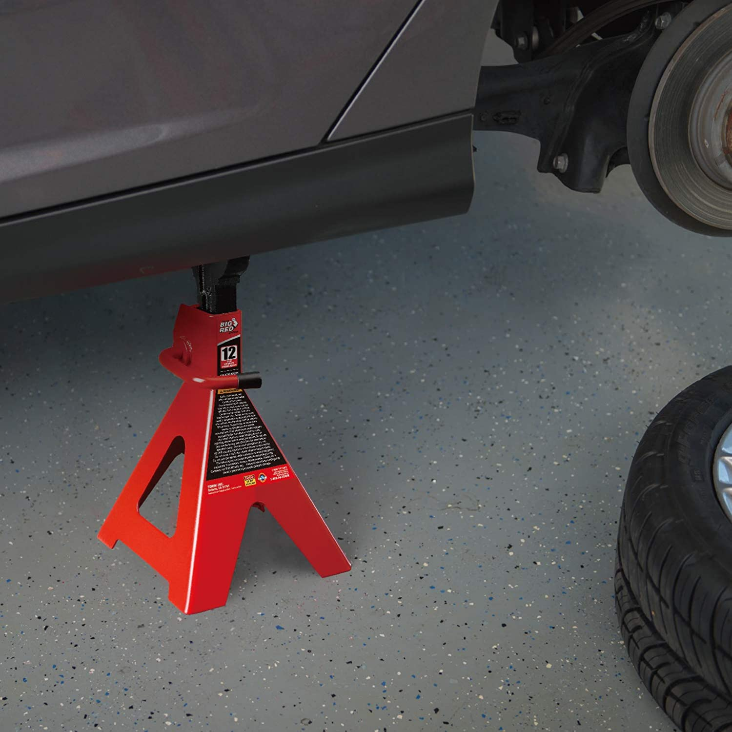 Big Red T41202 Torin Steel Jack Stand in use