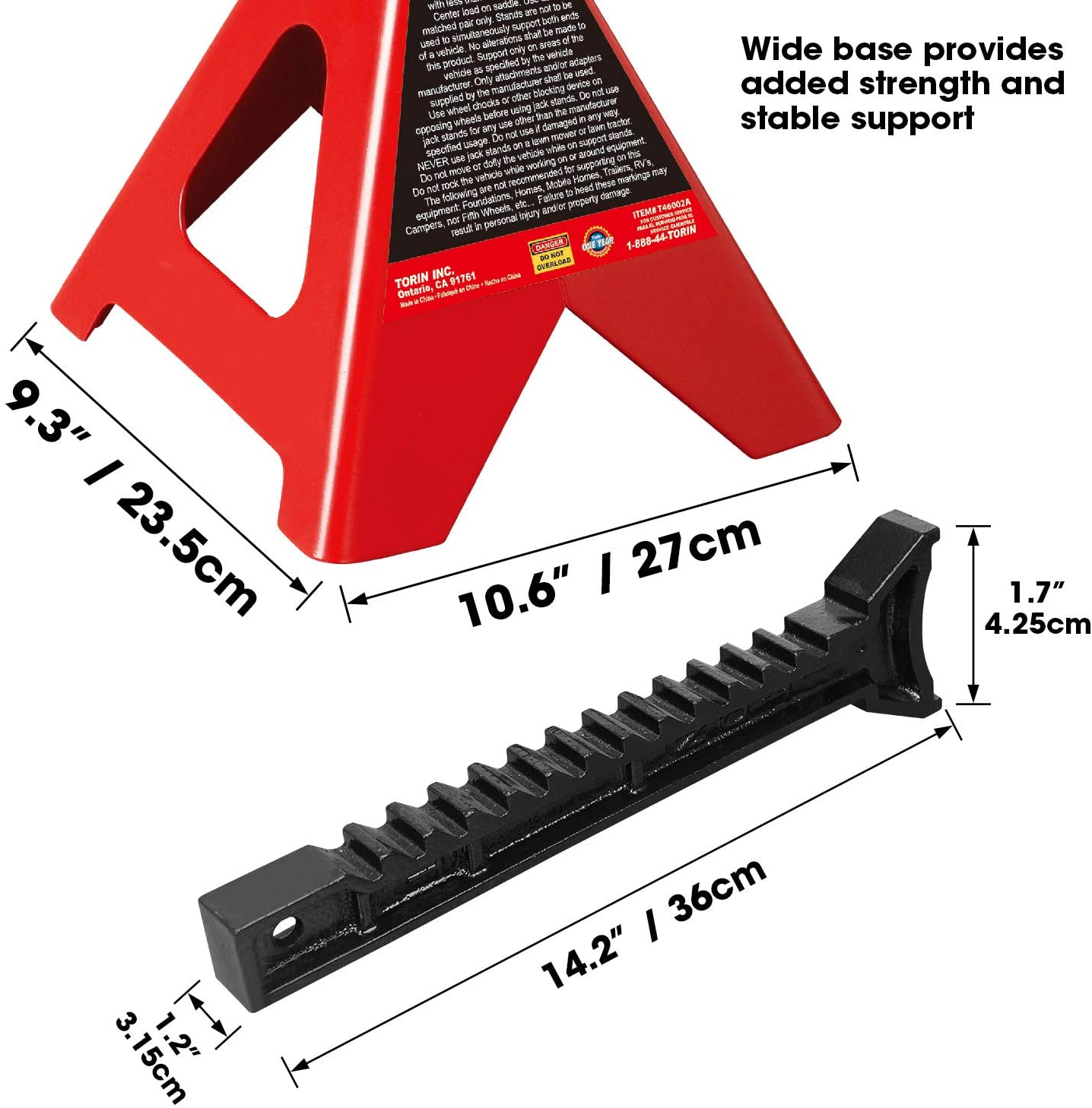 Big Red T43002A Torin Jack Stand specs