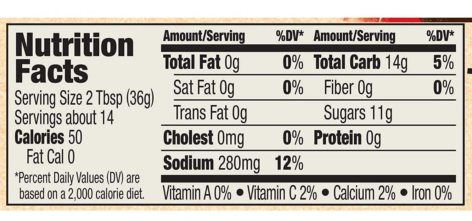 Bull's Eye Original Barbecue Sauce nutritional facts