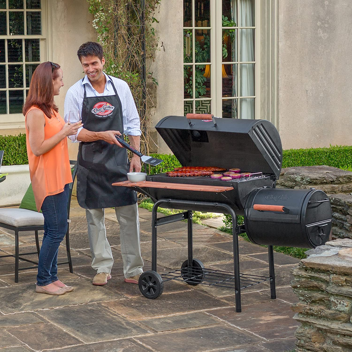 Char-Griller E1224 Smokin Pro Charcoal Grill in use