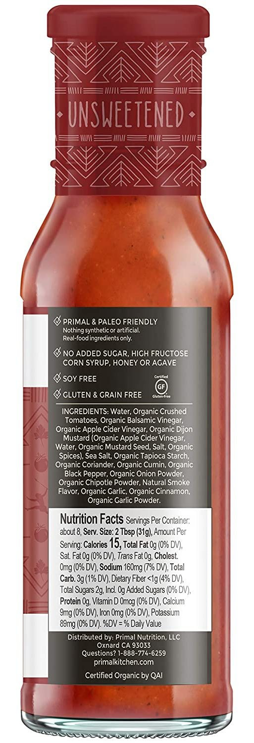 Primal Kitchen Barbecue & Steak Sauce nutritional facts of classic bbq
