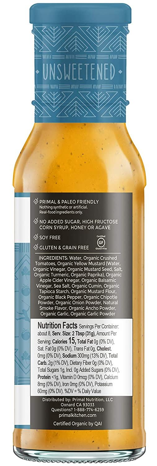 Primal Kitchen Barbecue & Steak Sauce nutritional facts of golden bbq