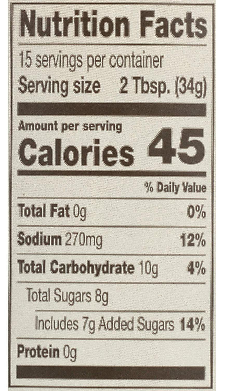 Stubb's Original BBQ Sauce nutrition fact