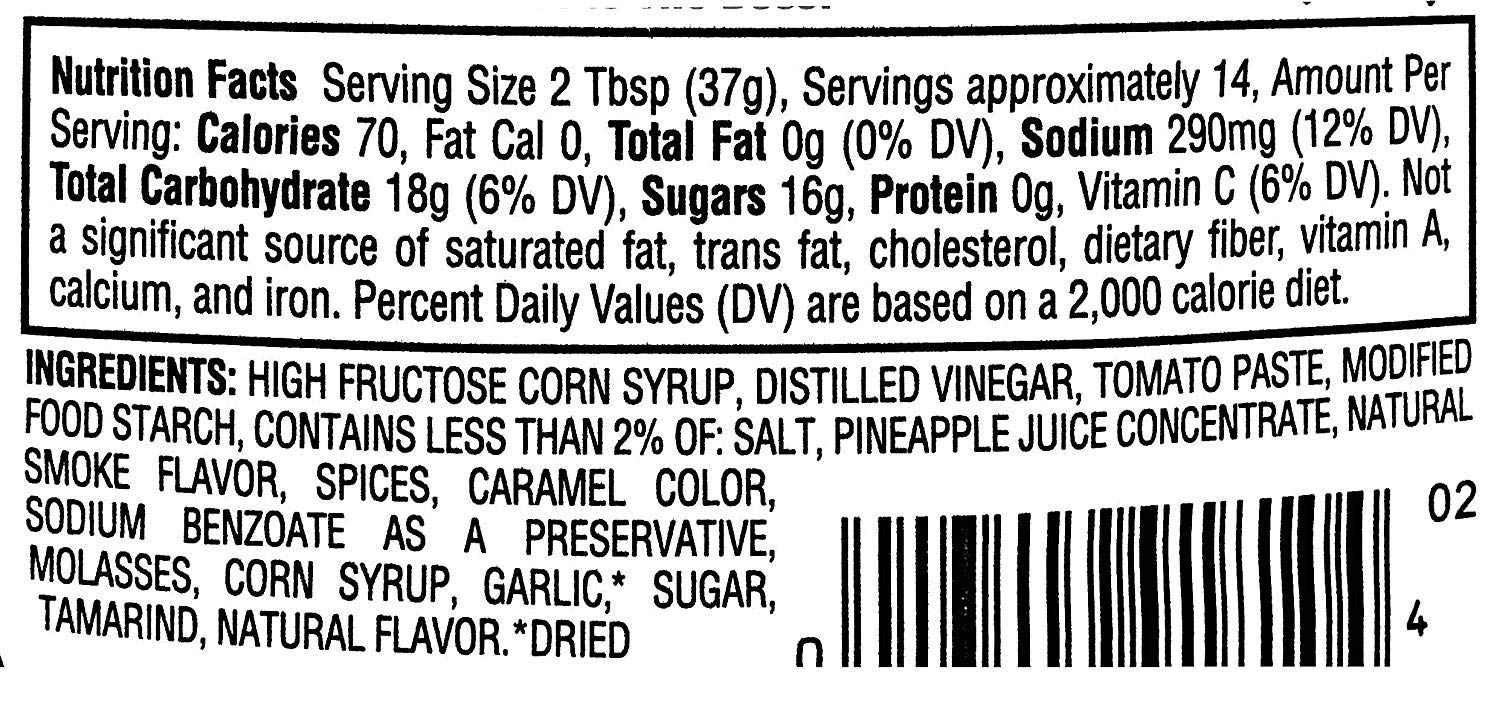 Sweet Baby Ray's Barbecue Sauce nutrition facts
