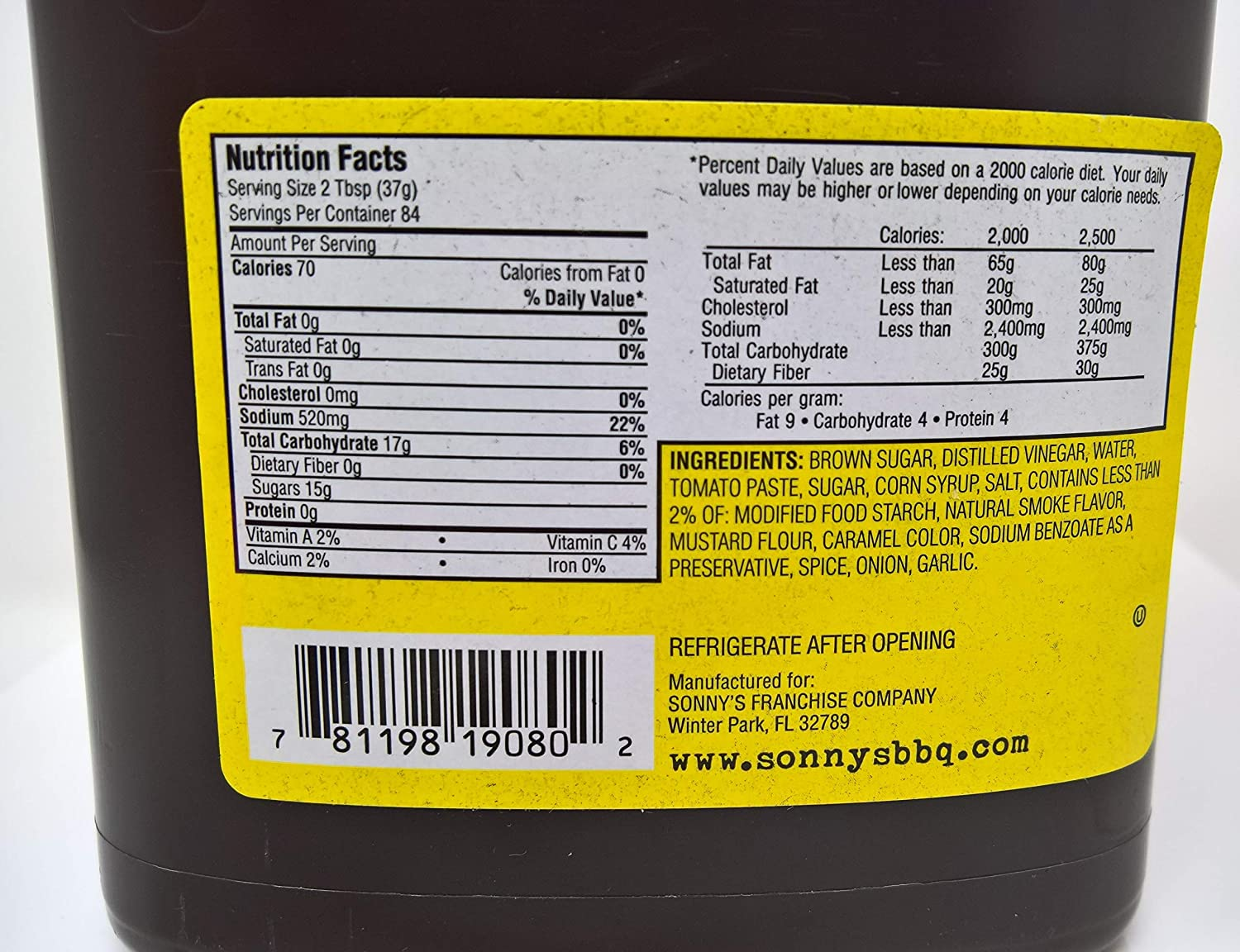 sonny's Authentic Sweet Bar-B-Q Sauce nutrition facts