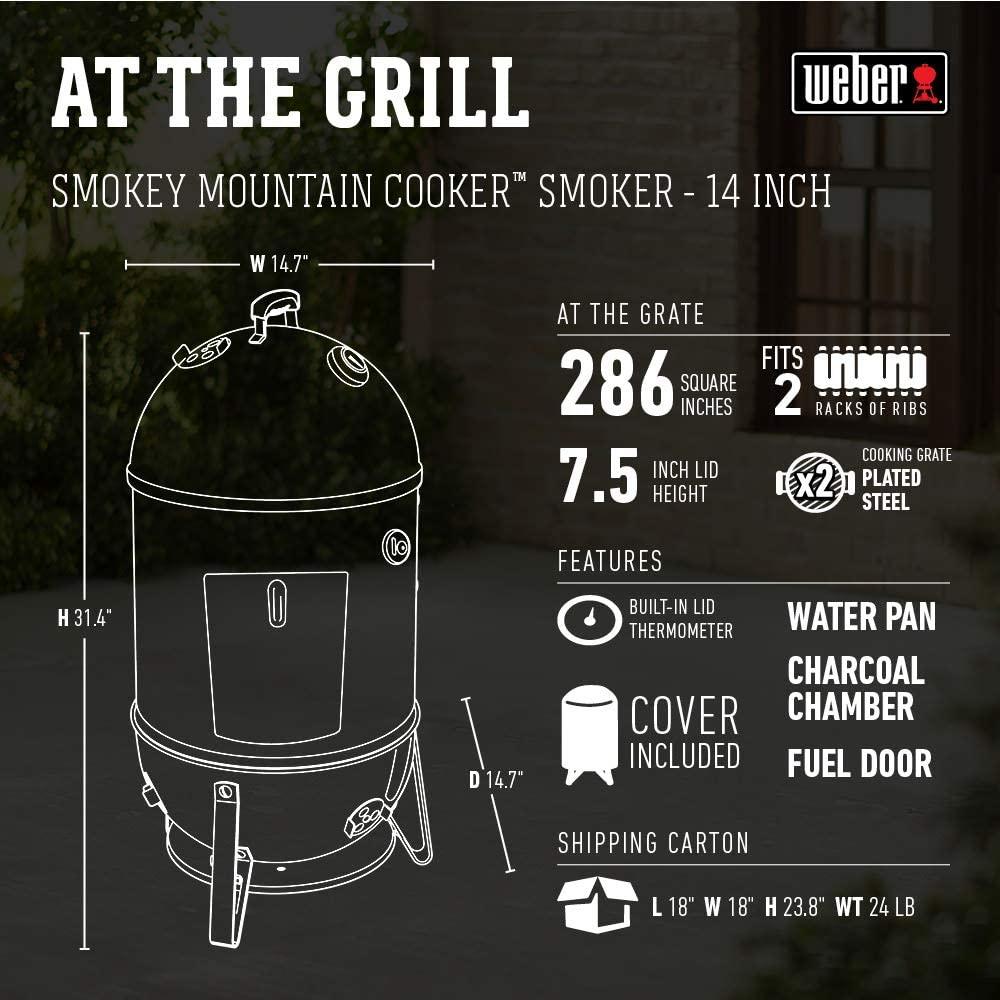 Weber 14-inch Smokey Mountain Cooker specs