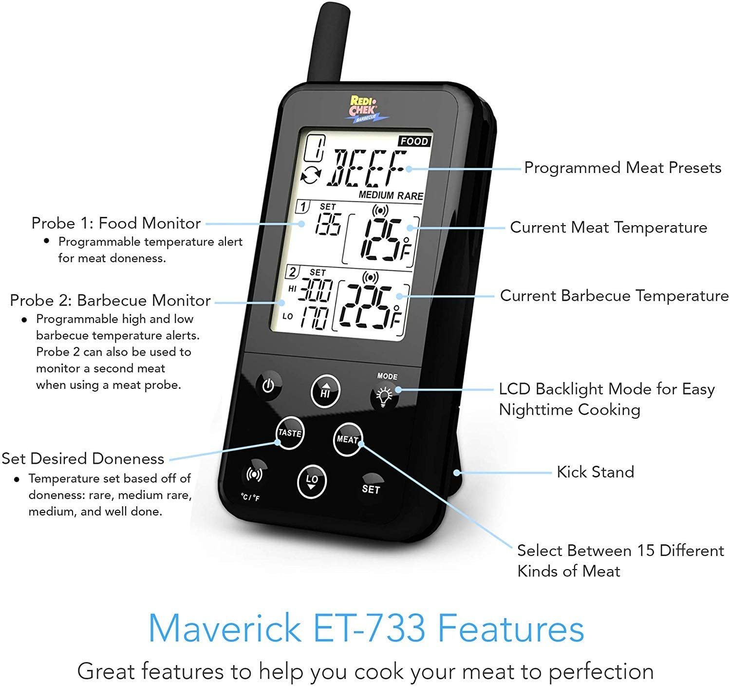 Maverick ET-733 Thermometer features