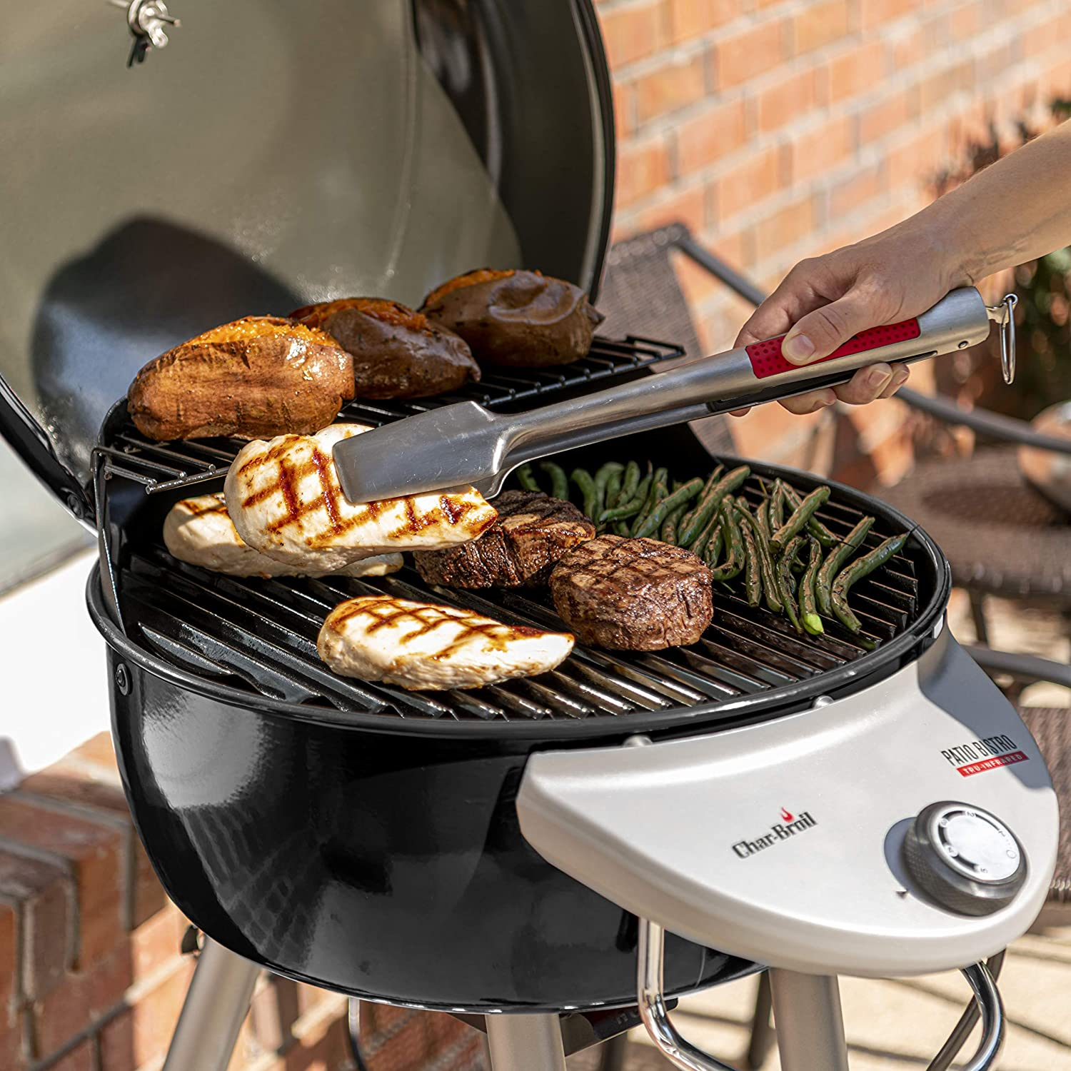 Char-Broil Patio Bistro TRU-Infrared Electric Grill in use