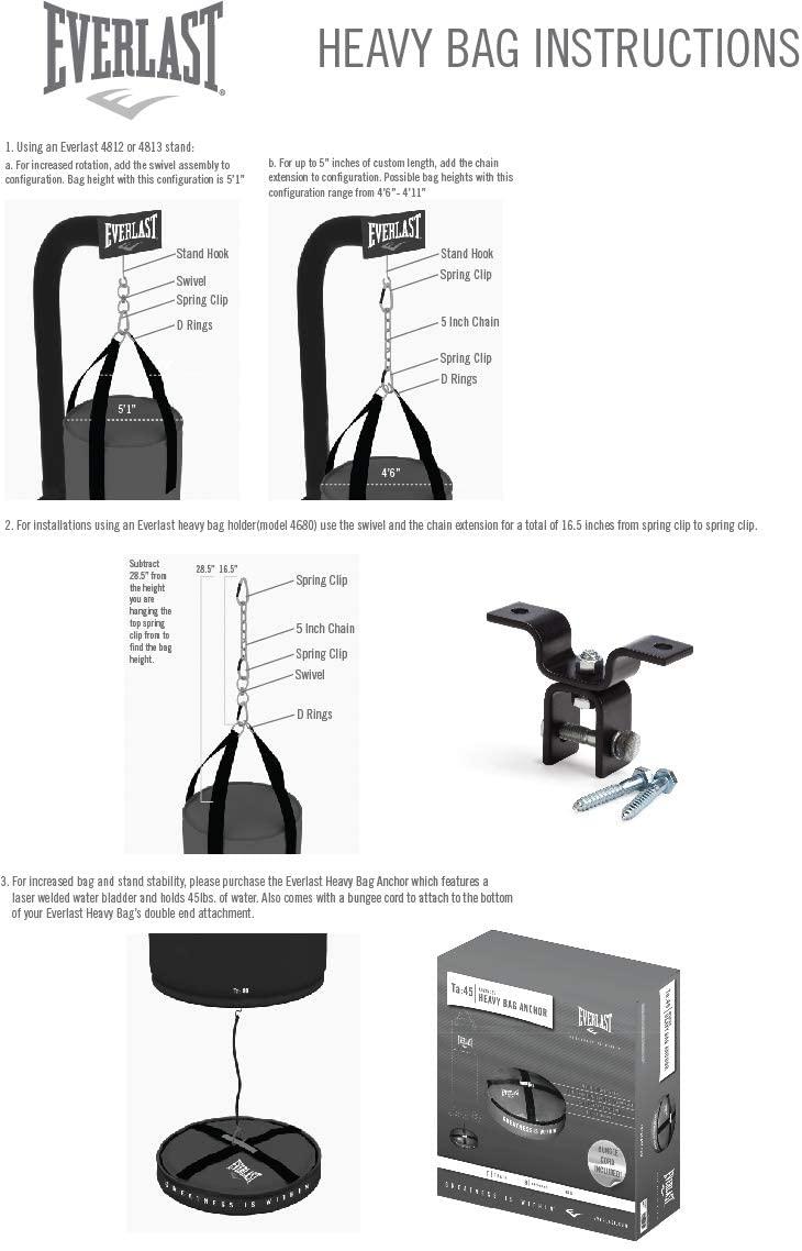 Everlast 70-Pound MMA Heavy Bag Kit specs